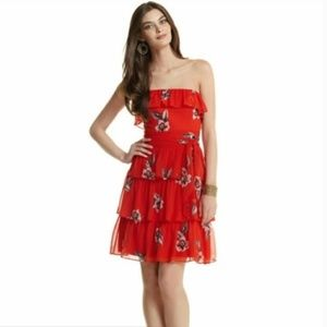 WHBM Tiered Floral Mini Dress Strapless